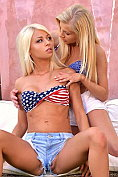 Chloe Lacourt and Vanessa Staylon make out in the garden