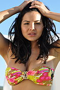 Lacey Banghard takes off her bikini top for us