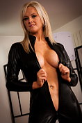 Emma B shows off and teases in her black catsuit