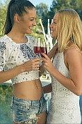 Carolina and Kiara get horny after drinking wine