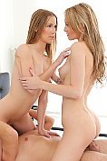 Alexis Crystal and Belle Claire share a cock