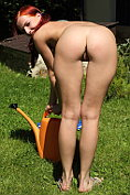 Leila Smith gets naked in the garden