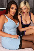Emma C and Emma Green put on a sexy show together on the bed