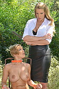 Danielle Maye finds Loulou Petite bound and naked in the woods