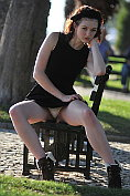 Fawna Latrisch teases you by flashing her knickers outdoors before stripping naked for you at home