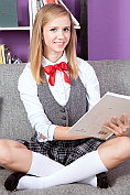 Flat-chested blonde Rachel James takes off her fantasy school uniform