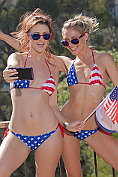Karlie Montana and Lena Nicole fool around in their Stars and Stripes bikinis