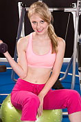Lily Rader strips naked during her workout session