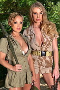 Busty army blondes Danielle Maye and Loulou Petite get each other off in the woods