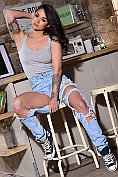 Mica Martinez takes off her fashionably ripped jeans, and everything else as well