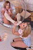 Lesbian foot fetish babes Dorothy Black and Maisie Rain