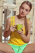 Slender blonde teen Kimberly Kace