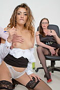 Three way sex in the office with Holly Kiss and Penelope Cum