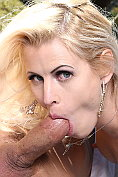 Posh blonde Lynna Nilsson sucks and fucks in the garden
