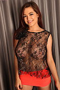 Tessa Fowler flaunts her massive tits in a sexy see-through top