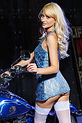 Nika N would be a dream girl for any biker, especially in that dress with no knickers on