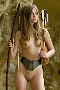 Nastya H goes hunting naked by the caves