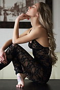 Karissa Diamond takes off her see-through lingerie and shows herself off on the table