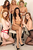 Six sexy office girls stripping at OnlyTease
