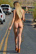 Riley shows herself off naked to the waiting traffic
