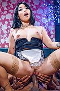 Oriental maid Rina Ellis gets a good pounding
