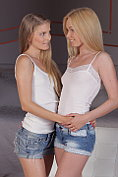 Lina and Cayenne undress each other and make out