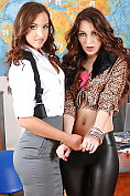 Sluttily dressed babes Amirah and Stacy Snake tease their lecturer