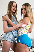 Two cute girls get off together