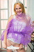 Sexy blonde teen Runa teasing in her white knickers and see-through purple skirt