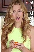 Beautiful blonde Alexa Grace masturbates in the kitchen on video