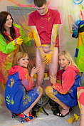 Five horny young ladies gang up on one guy
