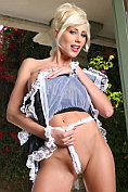 Busty blonde Puma Swede drops her french maid suit and shows shaved pussy