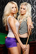 Gorgeous blondes Faye Tasker and Stevie-Louise Ritchie get naked together at the pool table