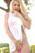 Beautiful blonde Lolly Lovewell teases outdoors